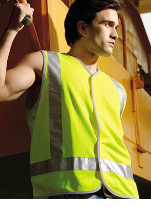 SJ0322 HI-VIS VEST WITH REFLECTIVE TAPE
