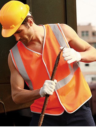 SJ0323 HI-VIS VEST WITH CROSSING TAPE