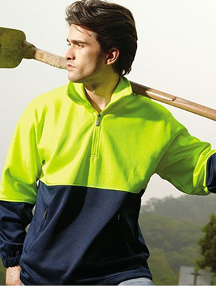 SJ0411 HI-VIS 1/2 ZIP FLEECE