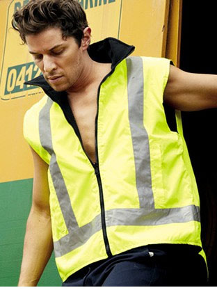 SJ0428 HI-VIS REVERSIBLE VEST WITH REFLECTIVE TAPE