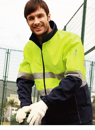 SJ1103 HI-VIS SOFT SHELL JACKET WITH REFLECTIVE TAPE