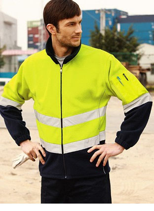 SJ1239 HI-VIS FULL ZIP POLAR FLEECE WITH REFLECTIVE TAPE