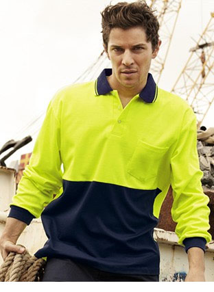 SP0536 HI-VIS POLYFACE/COTTON BACK POLO -L/S