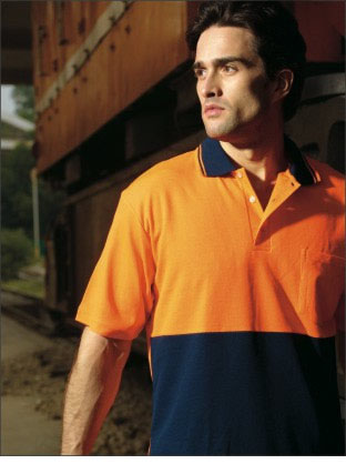 SP0538 HI-VIS POLYFACE/COTTON BACK POLO -S/S