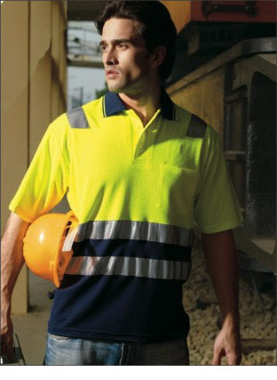 SP0539 HI-VIS POLYFACE/COTTON BACK POLO WITH TAPE -S/S