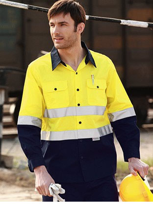 SS1232 HI-VIS L/S COTTON DRILL SHIRT WITH REFLECTIVE TAPE