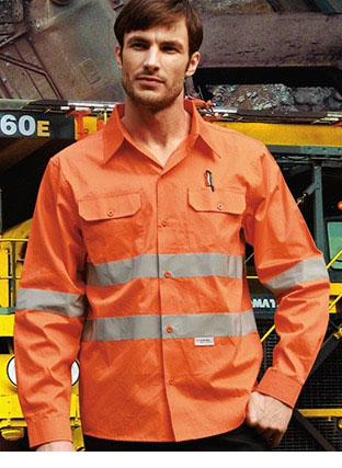 "SS1233 HI-VIS L/S COTTON DRILL SHIRT WITH REFLECTIVE TAPE ""X\"" BACK"