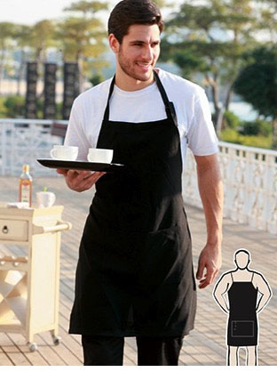 WA0396 COTTON DRILL FULL BIB APRON -WITH POCKET