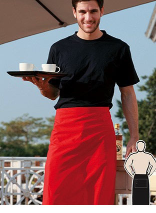 WA0630 POLYESTER DRILL THREE QUARTER APRON -WITH POCKET