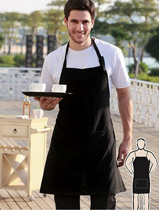 WA0677 POLYESTER DRILL FULL BIB APRON -WITH POCKET